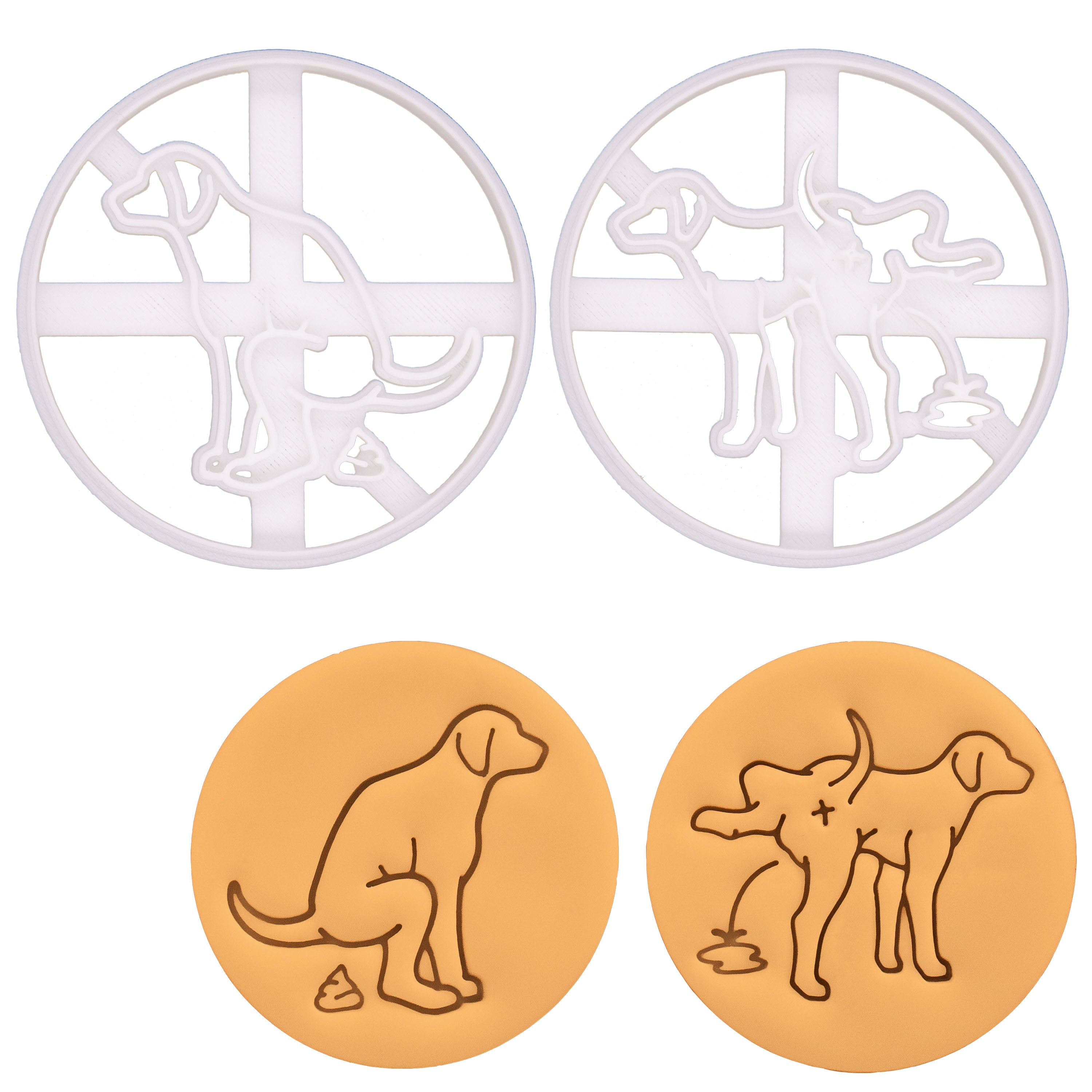 Dog pooping and dog peeing sign cookie cutters