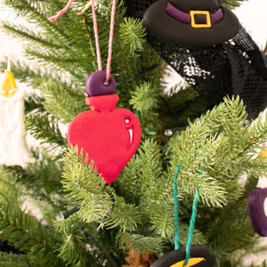 love potion clay ornament on christmas tree