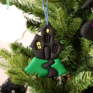 halloween haunted house clay ornament on christmas tree