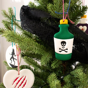 halloween toxic potion bottle clay ornament on christmas tree
