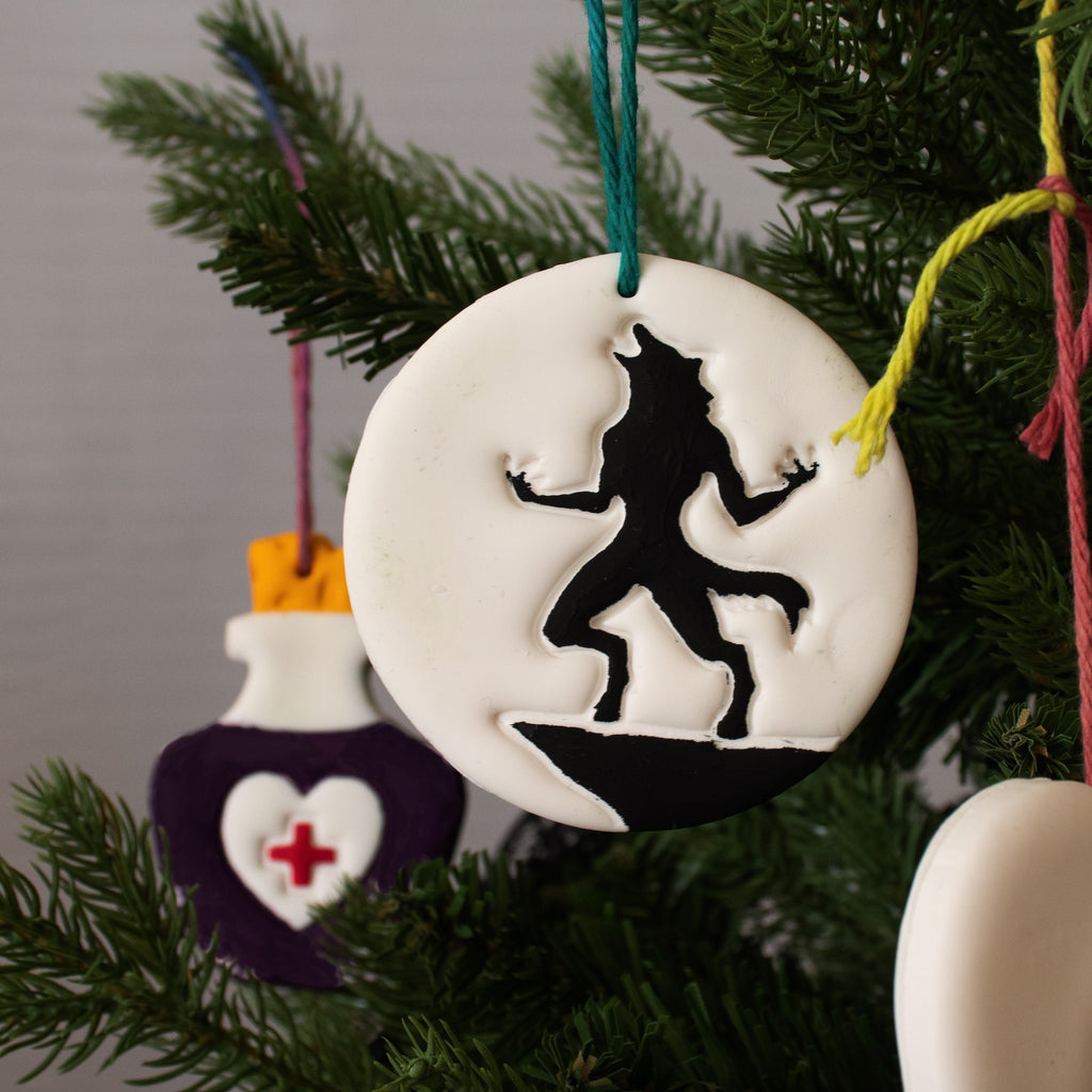 halloween werewolf clay ornament on christmas tree