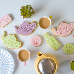 Set of 3 Eat Me, Drink Me, We are all Mad here Teapot Cookies with fondant