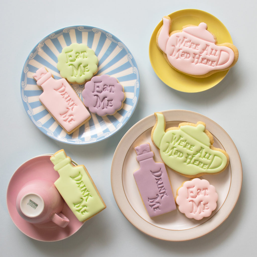 Set of 3 Eat Me, Drink Me, We are all Mad here Teapot Cookies