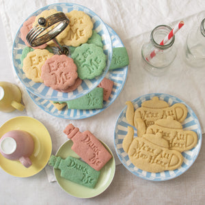 alice's adventures in wonderland - eat me, drink me, we are all mad here teapot cookies