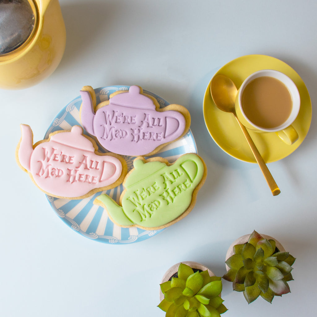 alice's adventures in wonderland - we are all mad here teapot cookies with fondant