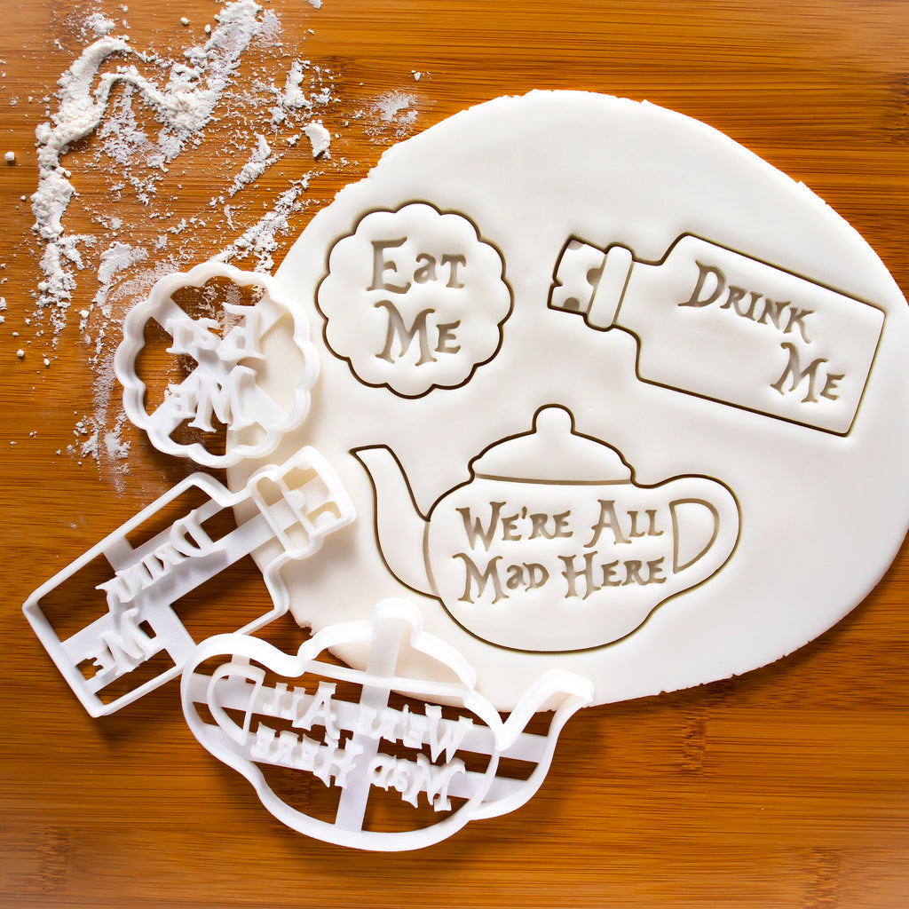 Set of 3 Eat Me, Drink Me, We are all Mad here Teapot Cookie Cutters