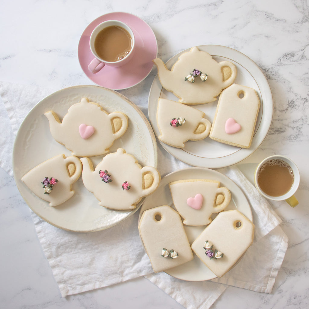 Teabag, teacup, and teapot cookies