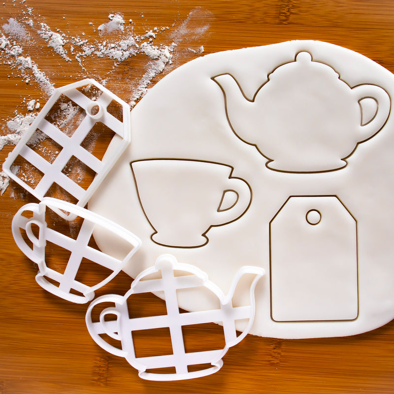 Teabag, teacup, and teapot cookie cutters