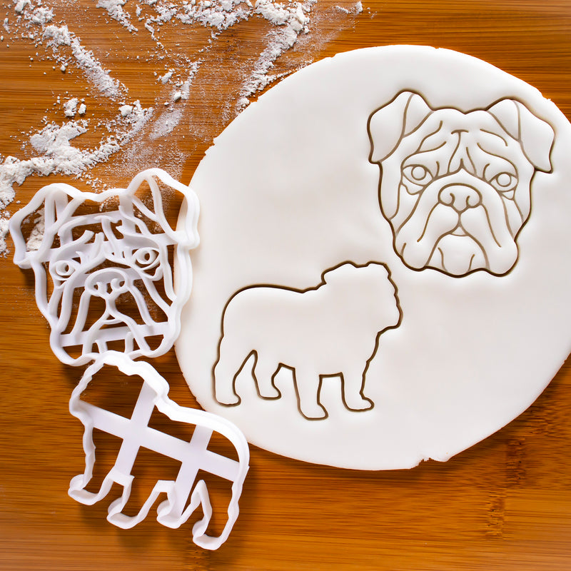 set of 2 english bulldog cookie cutters