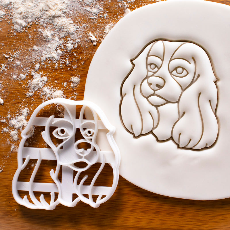 cavalier king charles dog face cookie cutter