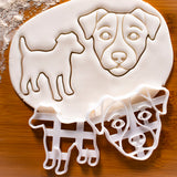 Set of 2 Jack Russell Cookie Cutters: Face and Silhouette