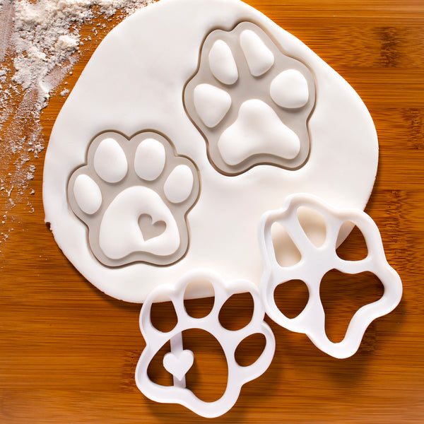 Set of 2 Large Dog Paws Cookie Cutters (Realistic & Cute)