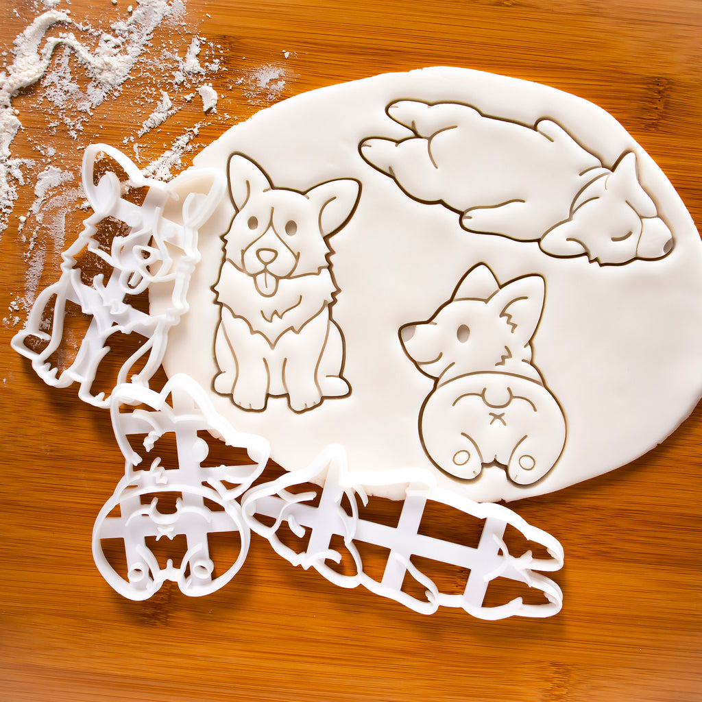 Set of 3 Corgi Cookie Cutters: Happy Corgi, sleepy corgi, and corgi butt