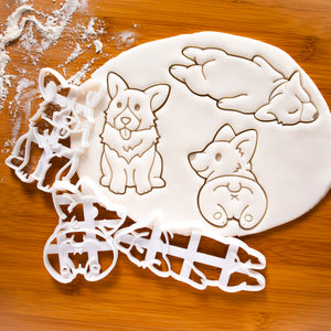 set of 3 corgi cookie cutters (Corgi butt, sleepy corgi, and happy corgi)