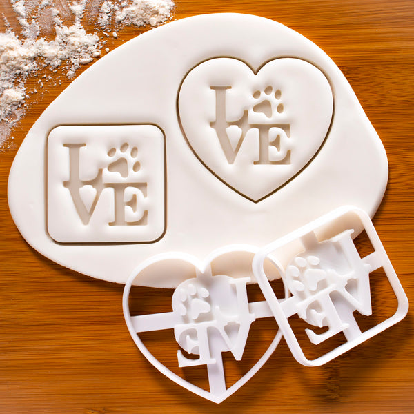 Set of 2 Philly LOVE with Paw Print Cookie Cutter (Heart & Square)