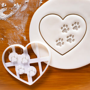 heart paw prints cookie cutter