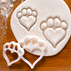 Set of 2 Dog Paw with Heart Shaped Pad Cookie Cutters
