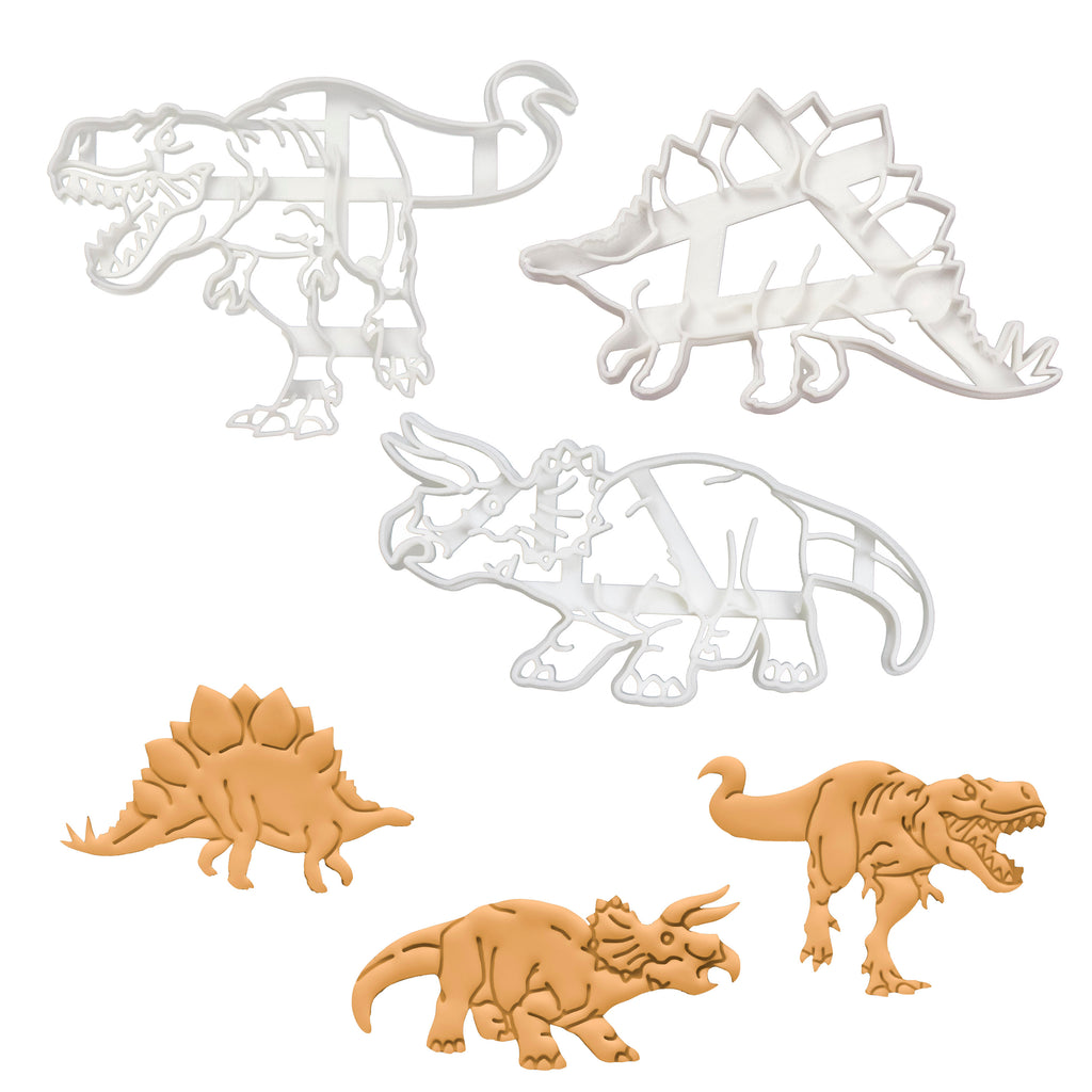 set of 3 dinosaur cookie cutters - t-rex, stegosaurus, and triceratops