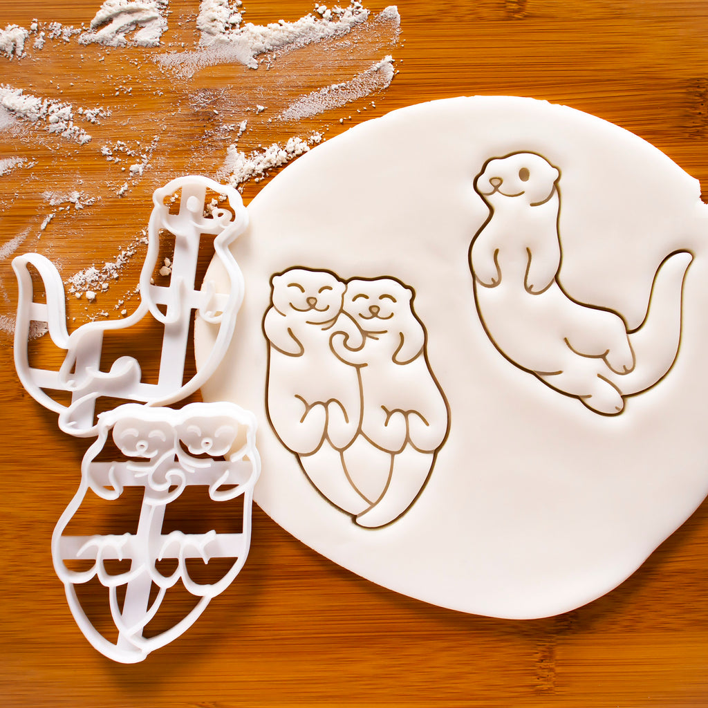 Set of 2 Cookie Cutters: Swimming Otter & Otters Holding Hands