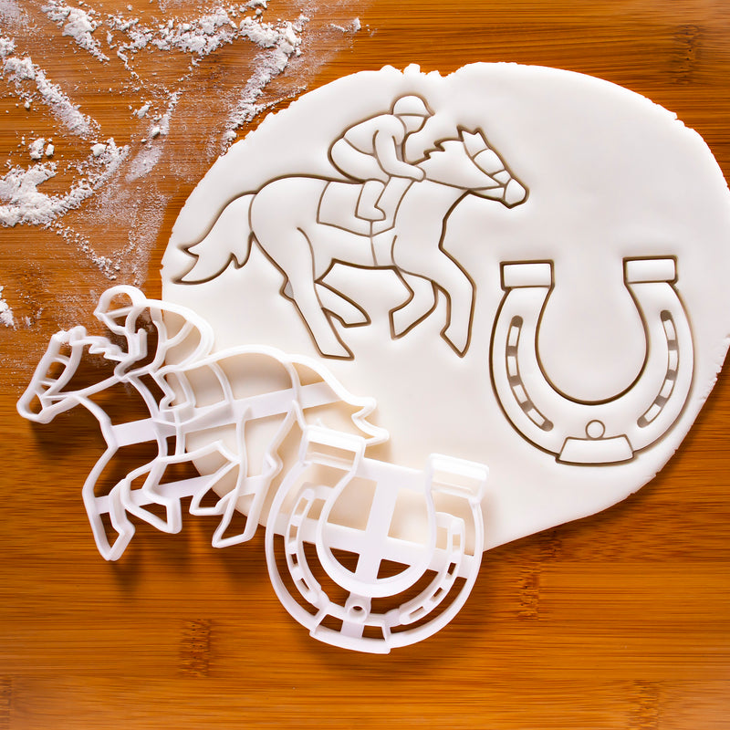 Set of 2 Jockey and Horse Shoe cookie cutters