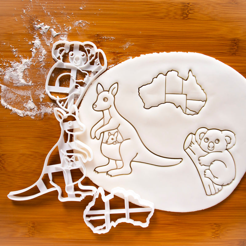 set of 3 cookie cutters, including a  map of Australia continent, a kangaroo and a koala.