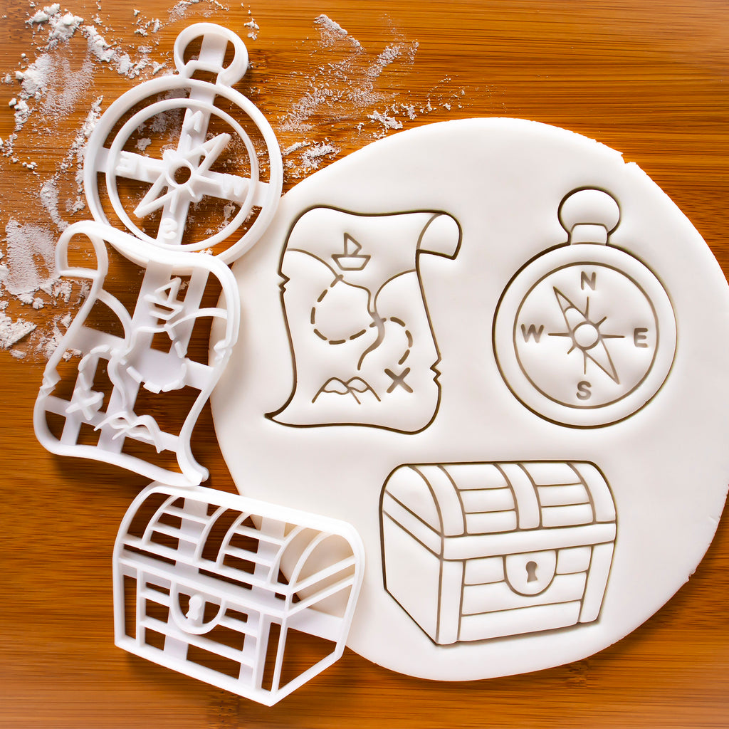 Set of 3 Cookie Cutters: Treasure Map, Treasure Chest, & Compass