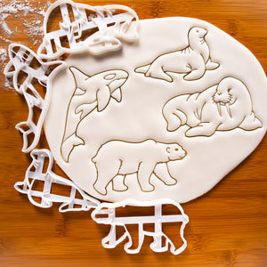 4 Arctic Animals Cookie Cutters: Polar bear, Sea lion, Orca, and Walrus