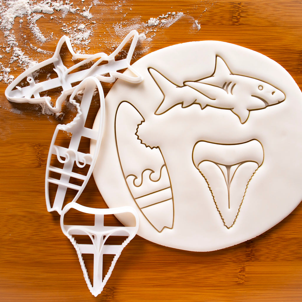 Great White Shark, Shark Tooth & Bitten Surfboard Cookie Cutters