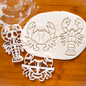 set of 2 crab and lobster cookie cutters