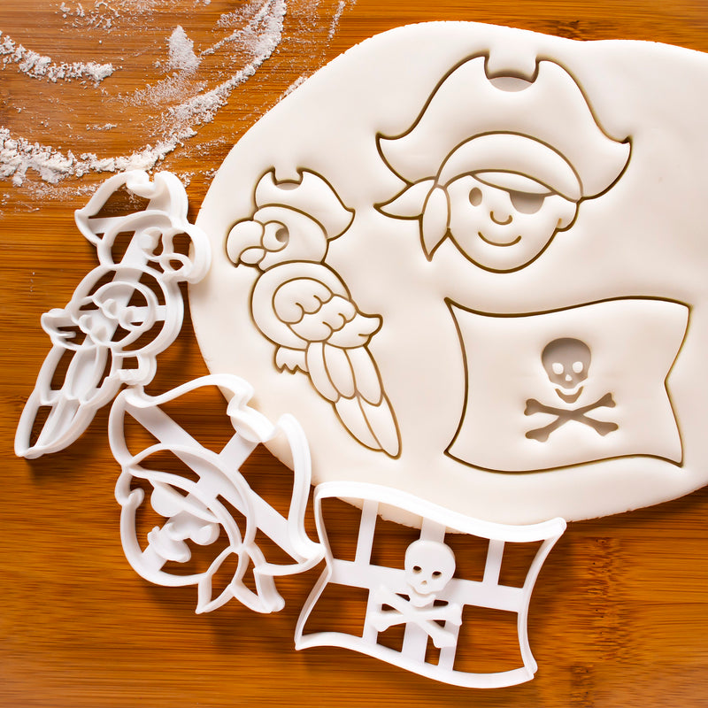 Set of 3 Cookie Cutters: Pirate Boy, Pirate Flag, Pirate Parrot
