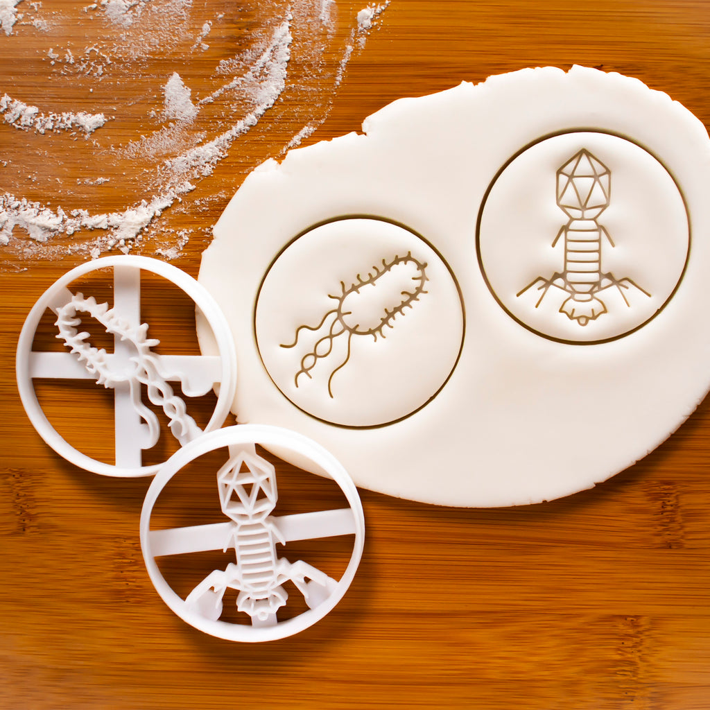 set of 2 bacteria and virus cookie cutters