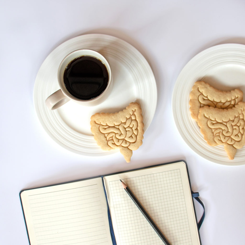anatomical intestines cookies on a plate