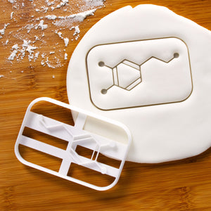 dopamine cookie cutter pressed on fondant