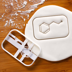 phenylethylamine molecule cookie cutter pressed on fondant