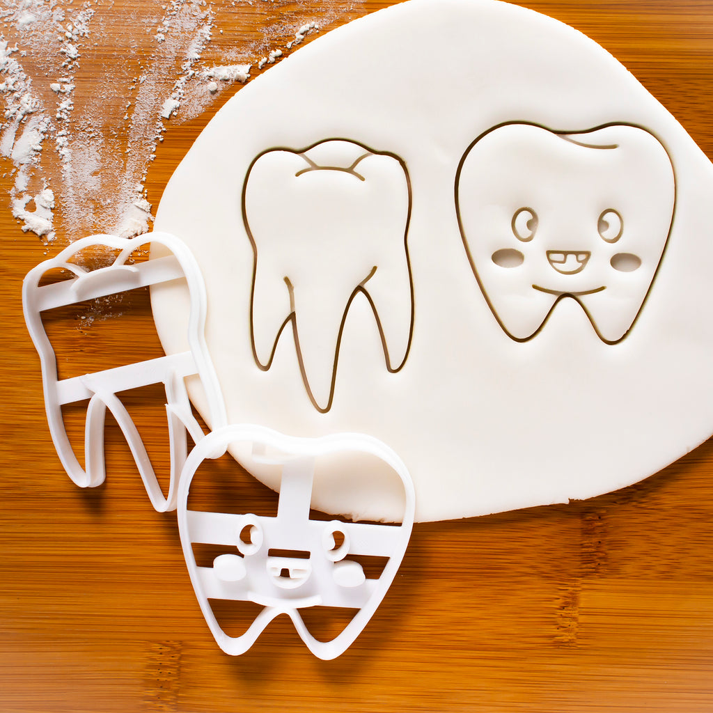 set of 2 teeth cookie cutters, cute tooth cookie cutter and realistic tooth cookie cutter