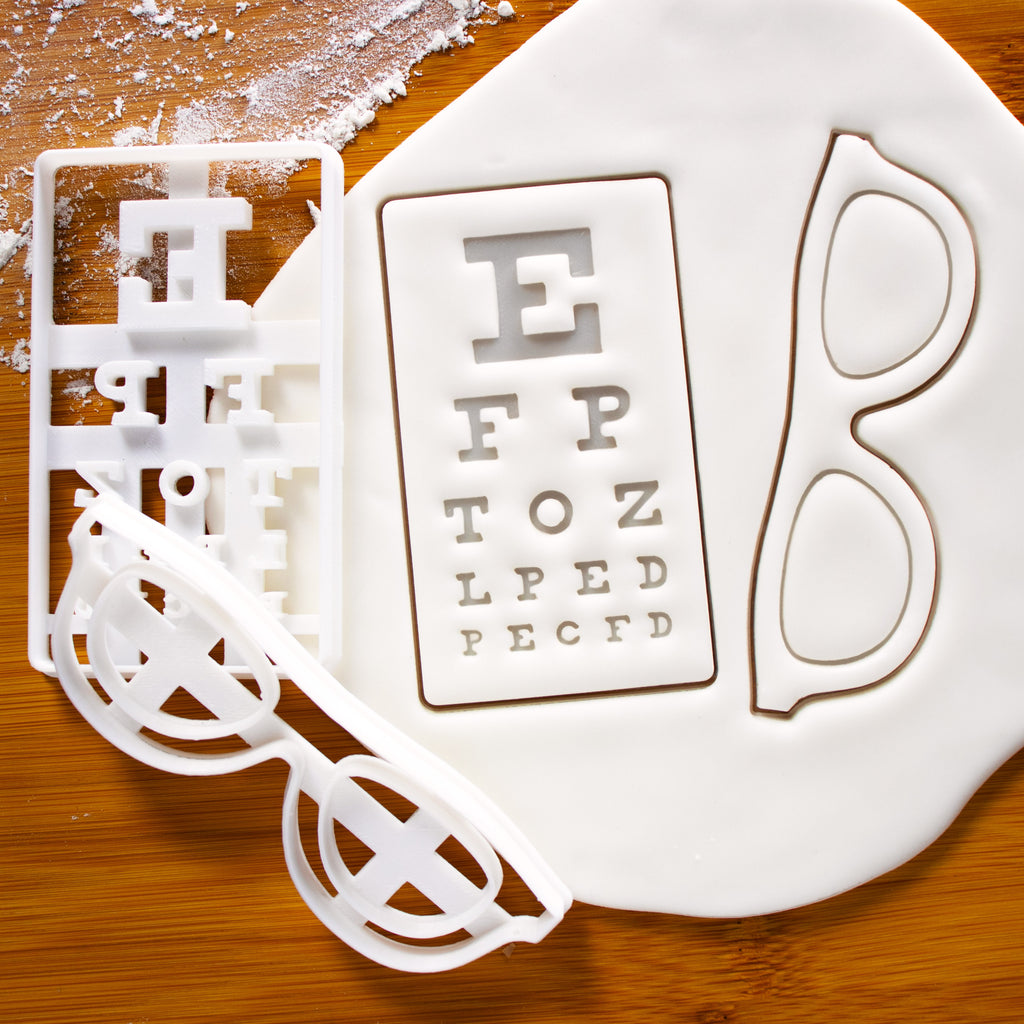 snellen chart and eyeglasses cookie cutters