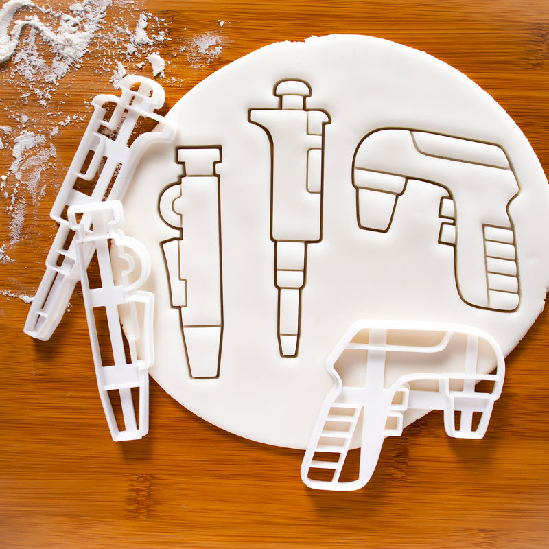 set of 3 science cookie cutters: micropipette, pipette pump and electronic pipette