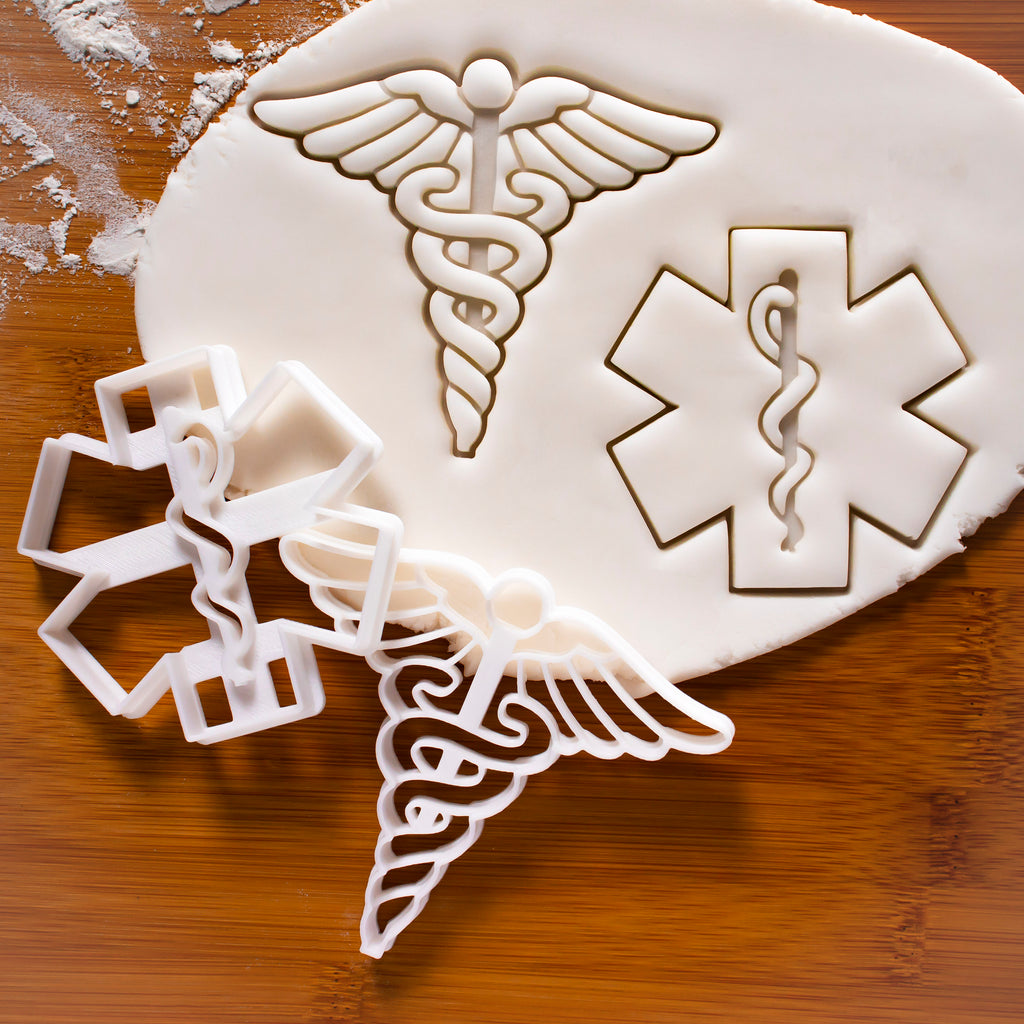 set of 2 cookie cutters: Caduceus and EMS