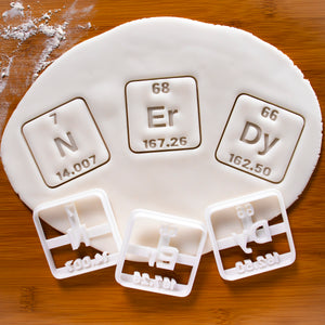 set of 3 periodic table elements cookie cutters NErDy