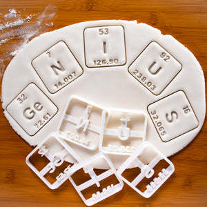 set of 5 periodic table elements GeNIUS cookie cutters