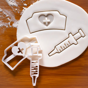 set of 2 cookie cutters: nurse hat and syringe