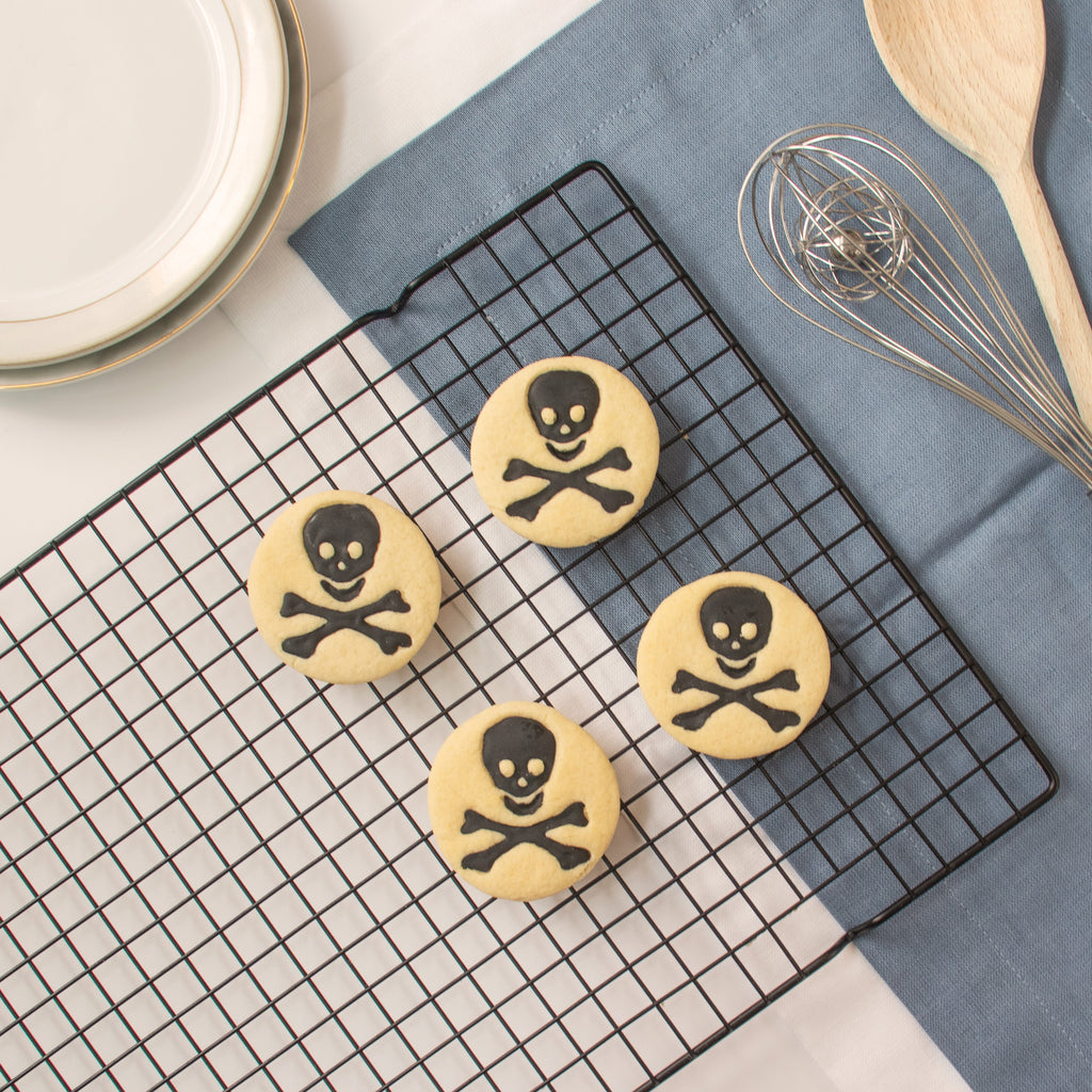 science symbol toxic skull cookies