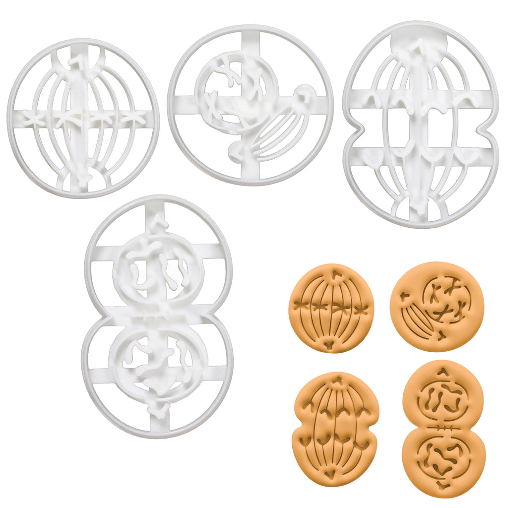 set of 4 mitosis cookie cutters: metaphase anaphase telophase prophase