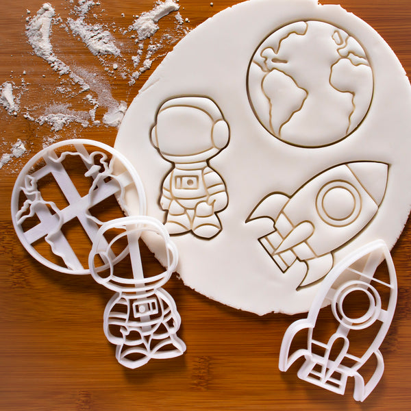 set of 3 space themed cookie cutters: Astronaut, earth and rocket