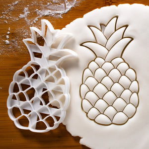 pineapple cookie cutter pressed on fondant