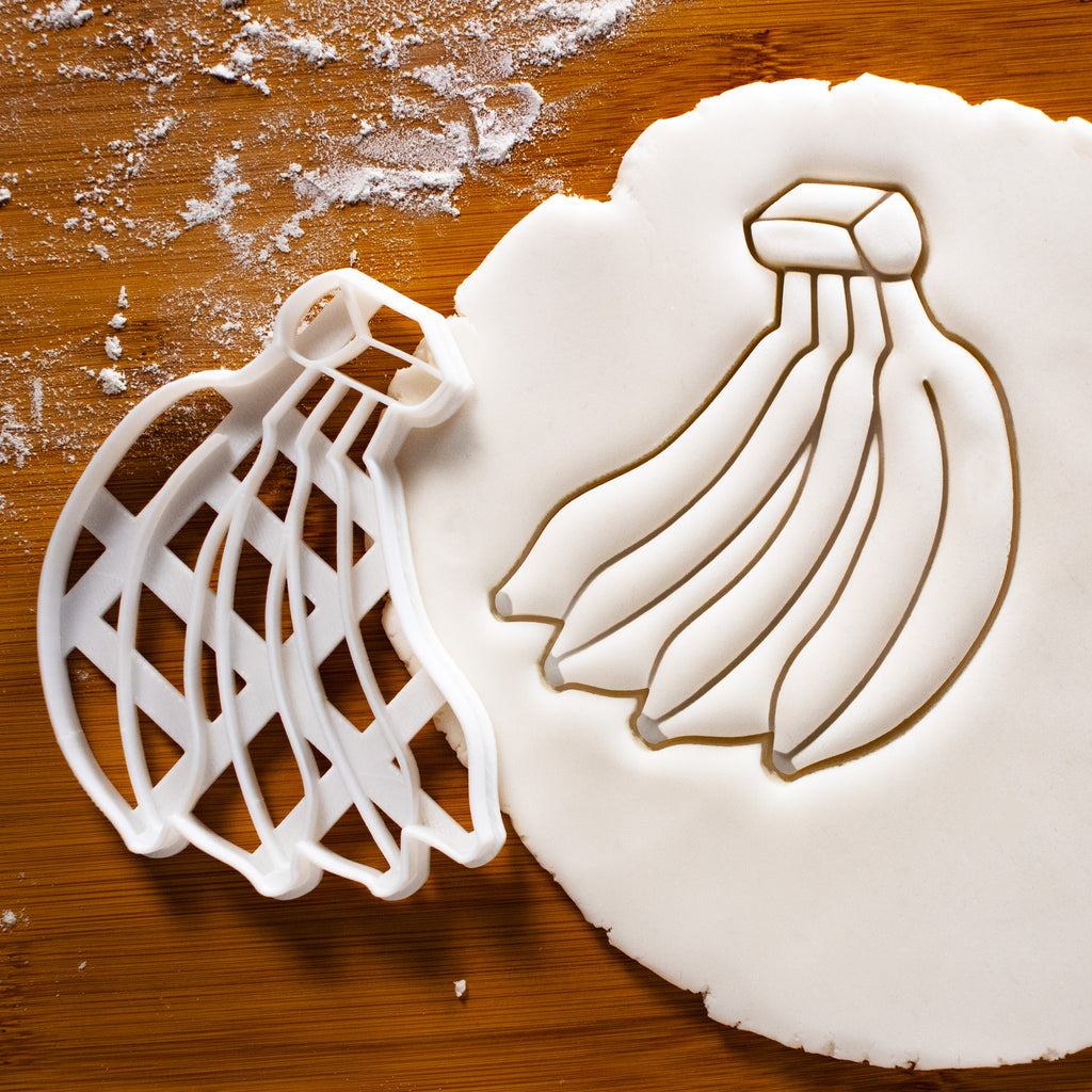 banana cookie cutter pressed on fondant