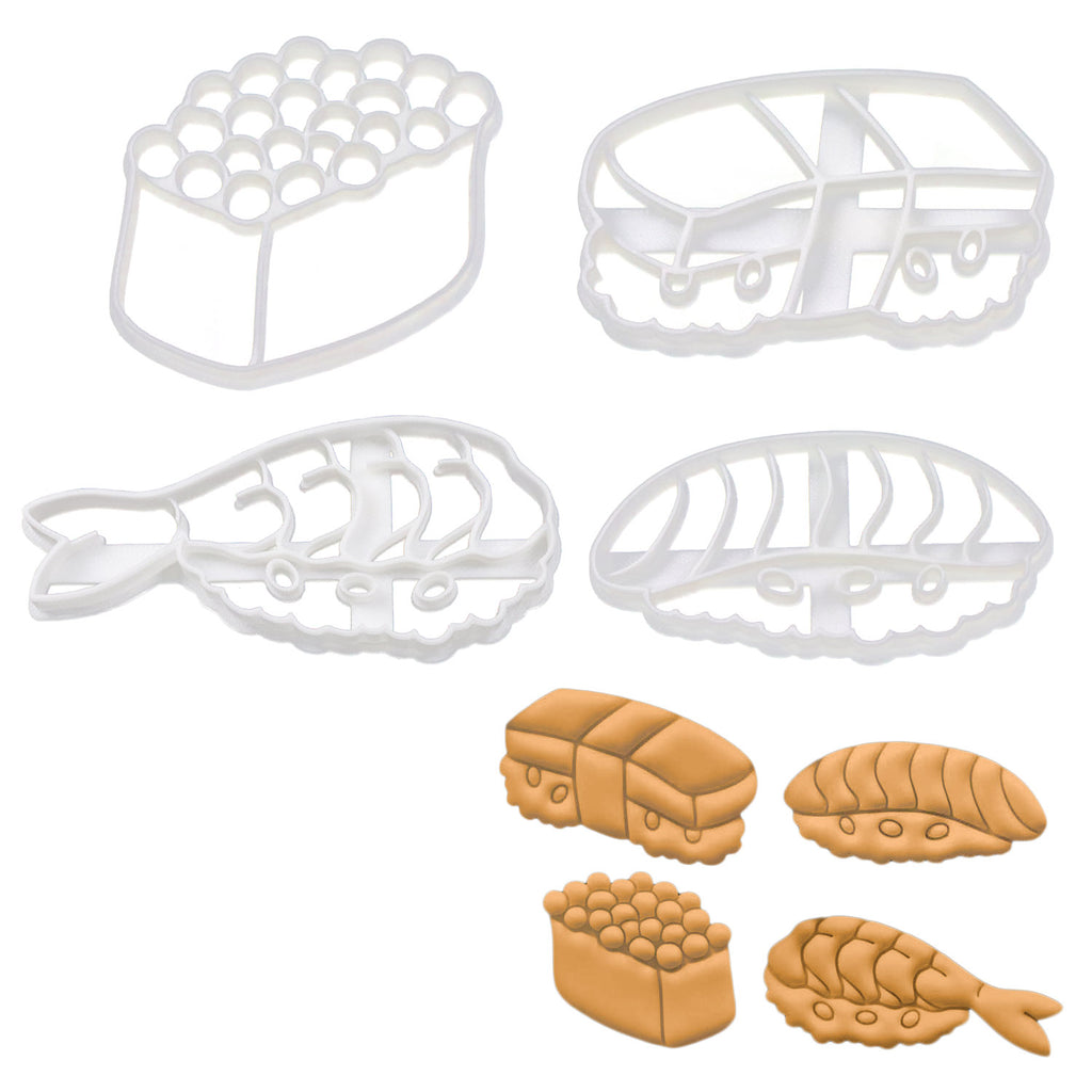 Set of 4 Sushi Cookie Cutters: Shrimp, Salmon Roe, Salmon, & Tamago
