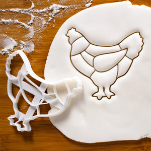 Butcher Chicken Chart cookie cutter pressed on fondant