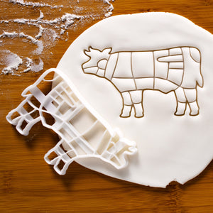Butcher Cow Chart cookie cutter pressed on fondant
