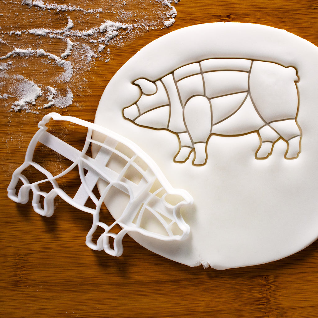 Butcher's Pig Chart cookie cutter pressed on fondant